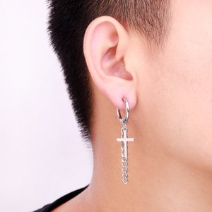 Fashion Men Stainless Steel Stud Earrings Cross Star Long Hoop Tassel For Men Hip Hop None-Piercing Ear Clip Stud Jewelry Gifts Pendant M93Y