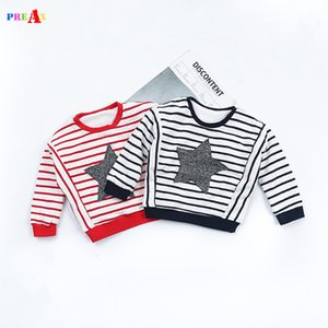 Wholesale 2018 New Design Boys T shirt Red Striped and Star Printed Baby Boy Brand T Shirts for Girls Long Sleeve Sweatshirt Child T shirt