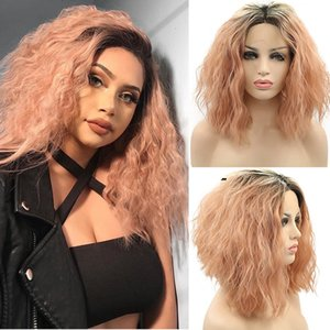 Wholesale Natural Hairline Short Bob Wig Synthetic Lace Front Wigs With Dark Roots Ombre Pink Wig Inches High Temperature Hair Curly Cosplay Wig