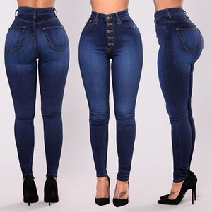 Wholesale European And American Foreign Trade New Style Hot Selling L Women Amazon Hot New Style High Waisted Stretch Slim Fit Denim Pants
