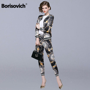 Wholesale Borisovich Piece Set Women Casual Suits New Brand Autumn Fashion Vintage Print Female Jackets And Ankle length Pants N133