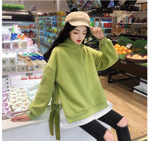 Wholesale Drop shopping New Turtleneck T shirt sweatshirt Long Sleeve women Clothes Spring colors Fashion Designer Green Bow