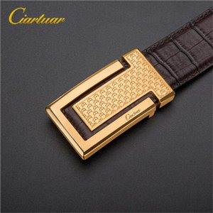 Wholesale New fashion luxury business mens belt fine carved pattern pure copper buckle leather designer belt for man and female chastity belt with box