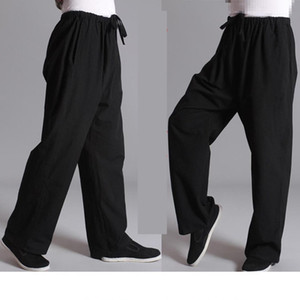 Chinese Traditiona Tai Chi Leisure Pants Kung Fu Sports Pants Practise Old-coarse Male Tang-suit Breathable Trousers on Sale
