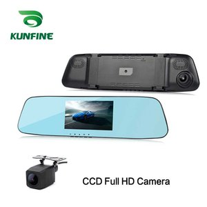 Wholesale KUNFINE quot FULL HD P Recording Dash Cam Car DVR Mirror Rear View Camera Video Recorder Dual Cameras Recording