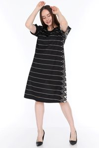 pianoluce Large Size Women's Half Sleeve Dress Black Lire 1542 on Sale