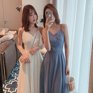 Wholesale new women s sexy solid color dress pleated mesh skirt female summer long V neck zipper sling
