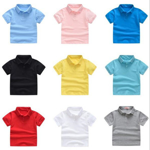 Quality Luxury Kids Polos Clothes Boys Children Kids Shirt big Boy Tops Students Tees Sweater Shirt Casual T-shirts Outfits -140CM XZT081B on Sale