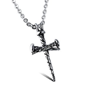 Wholesale Cross Pendant Necklaces Vintage Titanium Steel Casting Mens Hip Hop Pendant Nail Necklace Hipster Cross Statement Jewelry Gift DHL