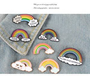 high quality Cute Rainbow Brooch pin Lady Enamel brooches Pins Cartoon Cloud Badge Denim Jackets Lapel Pin Dream Jewelry Gift for Kids Gift