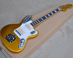 Factory wholesale golden electric guitar with P90 pickups,Rosewood fingerboard,White pearl pickguard,offering customized services