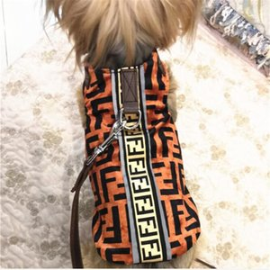 Wholesale Fashion F Letter Pets Vests Tide Brand Breathable Pet Tops Outdoor Personality Design Teddy Schnauzer Shirts Leashes Sets