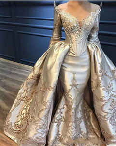 Ziad Naked Mermaid Overskirts Evening Dresses Long Sleeve Lace Appliqued Beads Prom Dress Gold Detachable Train Yousef Aljasmi Party Gowns on Sale