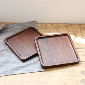 Wholesale Black Walnut Wooden Square Tray Fruit Snack Bread Plates Eco Friendly Food Dinner Dishes Wooden Plate Breakfast Tea Milk Tray VT1583 T03