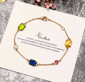 Top brass material paris design bracelet with nature crystal decorate single bracelet 15.5+2.5cm charm bracelet for women and mother gift je
