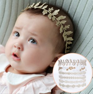 Wholesale Lovely baby girls headbands Lace Embroidery hairband toddle infant Princess Party hairwear children hair Elastic band Golden flower