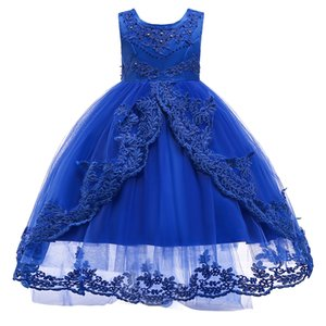 Wholesale Lace Flower Girls Dress Kids Children Teens Clothes Party Gown Wedding Bridesmaid Asymmetrical High Low Prom Princess Dress XF16