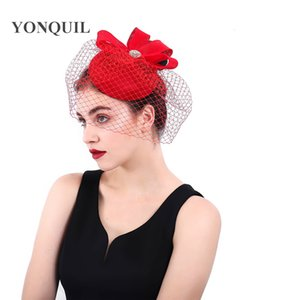 Wholesale Women Loops Fascinators For Elegant Headband Veils Party Hats Wedding Mesh Bridal Haeadwear For Party Occasion pillbox hats