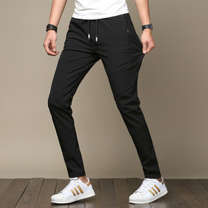 Wholesale Mens Lightweight Summer Slim pants Fit Stretch Men Clothes Korean Street Style Fashion Casual Skinny Trousers Male