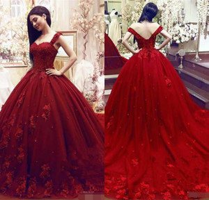 Wholesale Fashion Modest Sweet Quinceanera Dresses Ball Gown Lace D Floral Appliques Beaded Masquerade Puffy Long Prom dress Formal Wear