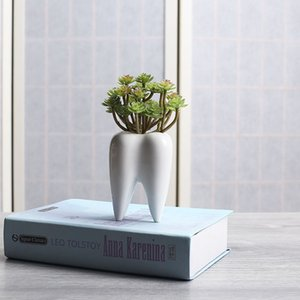 Wholesale flower I pc Tooth Shape White Ceramic Flower Modern Design Planter Teeth Model Mini Desktop Pot Creative Gift without plants