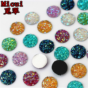 Micui 300pcs 10mm Crystal AB Flatback Round Rhinestone Cabochon Gems,Flat Back Resin Rhinestone For DIY Decoration ZZ649