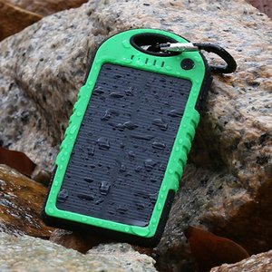 Wholesale 5000mAh Solar power bank waterproof shockproof Dustproof portable Solar powerbank External Battery for Cellphone iPhone Plus