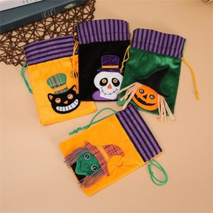 Wholesale Kids Gifts Halloween Cartoon Drawstring Bag Ghost Pumpkin Skull Witch Black Cat Print Boys Girls Candy Bag Festival Party Decoration B82101