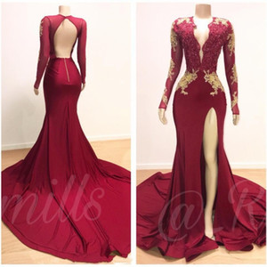 Wholesale Burgundy Sexy Mermaid Prom Dresses 2019 V Neck Long Sleeves Sequined Beaded Special Occasion Dresses Formal Evening Dresses Wear Vestidos