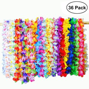 Wholesale Hawaiian Artificial Flowers Leis Garland Necklace Fancy Dress Hawaii Beach Flowers DIY Party Decor Random Color
