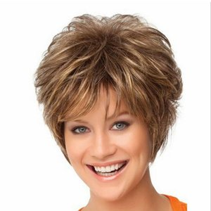 Women Short Curly Synthetic Hair Wigs Wavy Wig cap