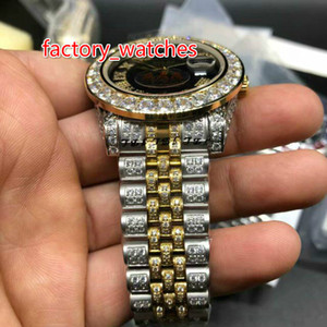 Wholesale Yellow gold tone automatic watch diamonds bezel black face men size mm full iced out wristwatch