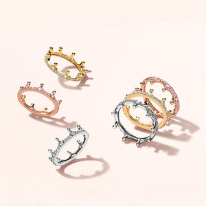 Wholesale 18K Rose gold Yellow Gold plated Enchanted Crown RING Original Box for Pandora Sterling Silver CZ Diamond Women Wedding Ring Set