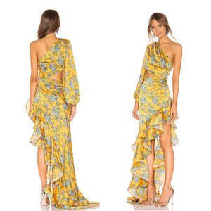 Vestidos Yellow One Shoulder Women Party Casual Dresses Poet Sleeve Backless With Ruffles Long Summer Sundress Beach Boho Clothing WY2376 on Sale