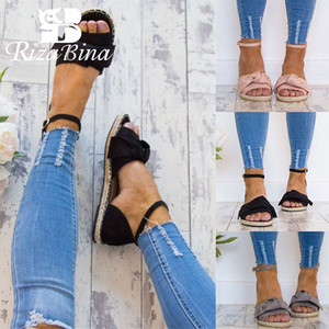 Wholesale RIZABINA Women Flats Sandals Bowknot Casual Summer Shoes For Women Comfortable Sole Open Toe Buckle Beach Sandals Size