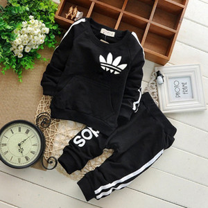 Wholesale baby clothing resale online - Brand Baby Boy Clothes sets Autumn Casual Baby Girl Clothing Suits Child Suit Sweatshirts Sports pants Spring Kids Set