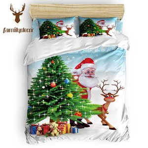Wholesale Family Decor Merry Christmas Tree And Santa Quilt Cover Bedding 4 Pcs Bedding Sets April Fool's Day Mother's Day Living Room