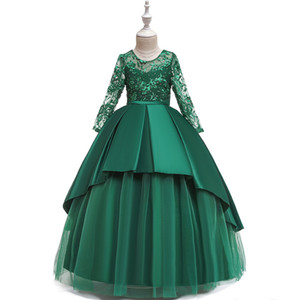 2020 Lovely Puffy Ball Gown Kids Prom Pageant Dresses Long Green Princess Children Birthday Party Dresses