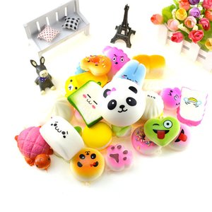 Free Shipping Kawaii Squishy fruit Bun Toast Donut Bread for phone Bag Charm Straps keychains mixed Squishy slow rising lanyard scented on Sale