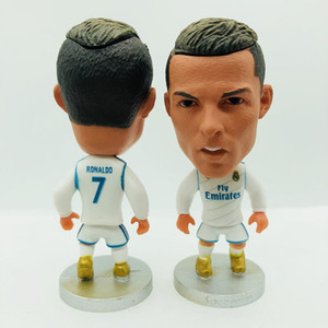 Soccerwe Football Star Cristiano Ronaldo Benzema Kroos Asensio Isco Modric Bale Marcelo Figurines Dolls White Kit 6.5 cm Height