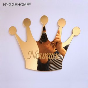 Wholesale 1pcs Mirrored Crown With Personalized Name Acrylic Mirror Sticker Customized Kid s Birthday Decoration Guest Gift Party Favors Q190605