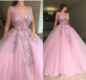 Wholesale Princess Deep V Neck Lace Beads Plus Size Evening Dresses A Line Tulle Dubai Saudi Arabic Prom Party Ball Women Gowns Formal Wear