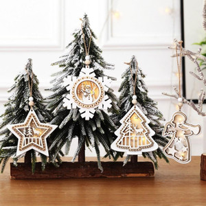 Wooden Light Up Christmas Pendants Luminous Xmas Tree Drop Ornament Holiday Home Lighting for Christmas Party Decoration