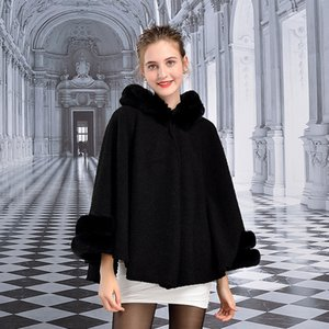 Wholesale Autumn and winter new women s coat lamb wool cape imitation rex rabbit fur collar shawl hooded cape to keep warm