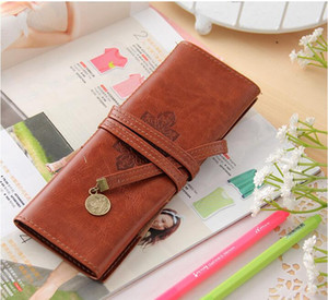 Wholesale Leather Three Fold Bag Fashion Cosmetic Make Up Pen Pencil Retro Pouch Purse Bags Case Student Pencil Boys Girls Kids Gift handbag
