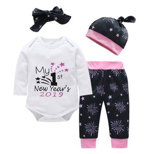 Wholesale 4pcs Set Cute Letter Star Printed MY FIRST NEW YEAR Cotton Long Sleeve Romper Pants Headband Hat For Newborn Baby Clothes S Y190515