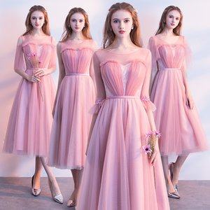 Wholesale tea length pink wedding gown for sale - Group buy Pink Bridesmaid Dresses Tea length Pleated Tulle Wedding Party Dress Cheap Prom Party Dress A line Bridesmaid Gown