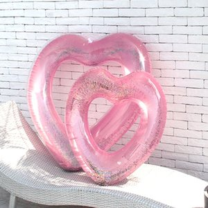 Wholesale Love Heart Shape Inflatable Pool Rose Gold Glitter Swim Ring Swimming Life Buoy