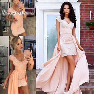 Gorgeous Lace Short Prom Dresses with Detachable Train Cap Sleeves V Neck Cocktail Party Dress Cheap Zipper Back Sexy Homecoming Gowns on Sale