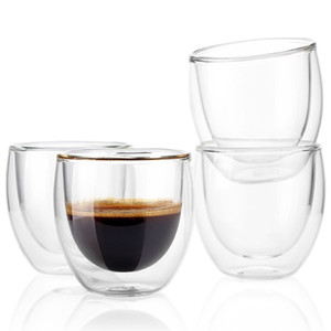 Wholesale 2pcs Double Layers80ml Heat Resistant Glass Materal Coffee Tea Cups Double Layer Handmade Exquisite Cup Glass Cup Q190525